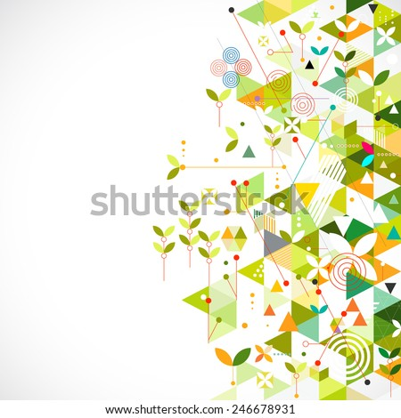 Abstract geometric template go green concept for corporate business or media, vector illustration - stock vector