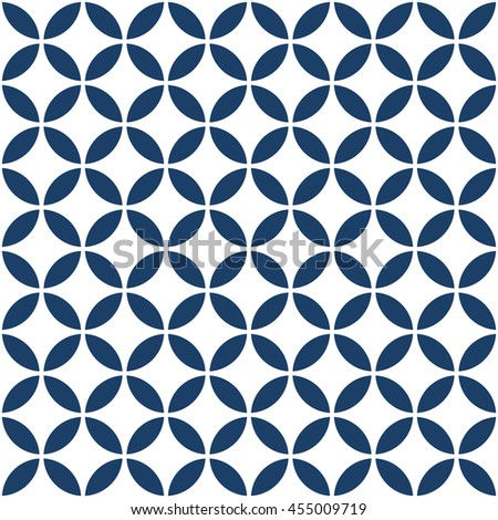 Abstract geometric texture repeating blue and white Circle seamless pattern design background. editable vector file. - stock vector