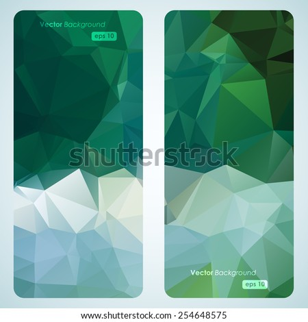 Abstract geometric triangular banners set - stock vector