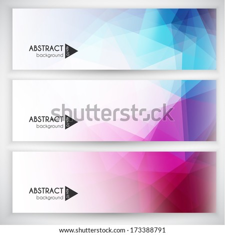 Abstract geometric triangular banners set - eps10 vector - stock vector