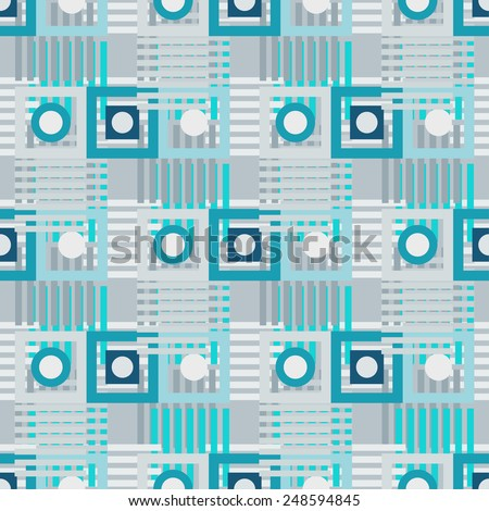 Abstract geometric turquoise seamless pattern. Circles, squares, stripes, lines. Repeating background texture. Cloth design. Wallpaper, wrapping - stock vector