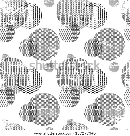 Abstract geometric vector background - circles. Round lace of wedding veil or mesh. Radial black elements.Vintage seamless texture for patterns, cards, textile, wallpapers. Vector illustration. - stock vector