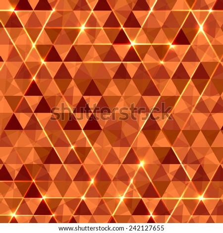 Abstract geometric vector background with glowing triangles. Orange circuit board pattern. - stock vector