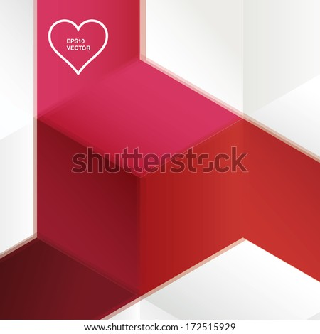 Abstract geometric vector illustration of minimal and blurred cube shapes- valentine edition - stock vector