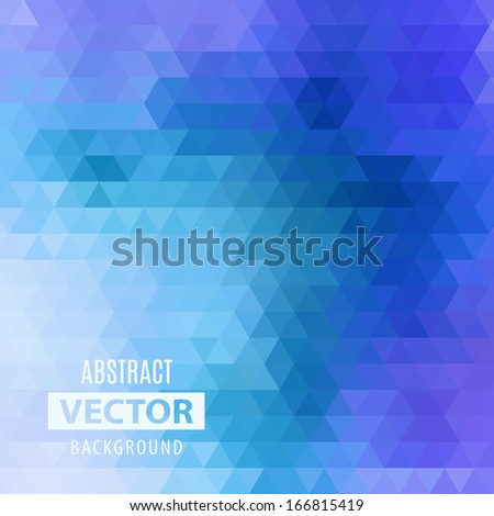 Abstract geometrical background with blue triangles - stock vector