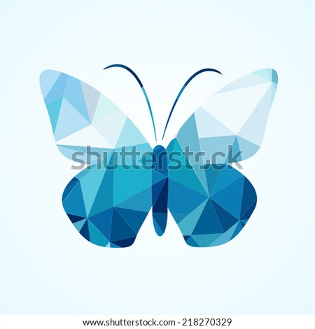 Abstract geometrical background with blue triangles. Vector butterfly - stock vector