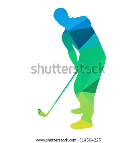 Abstract geometrical golfer - stock vector