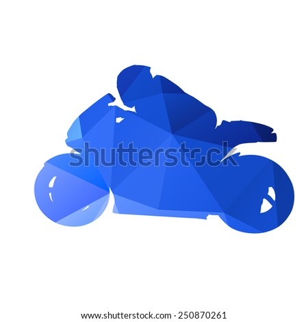 Abstract geometrical motorcycle racer - stock vector