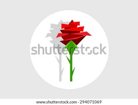 Abstract geometrical red rose, modern style