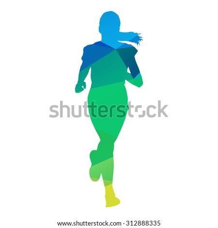 Abstract geometrical running girl - stock vector