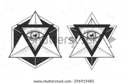 Abstract geometrics with eyes in triangle. Two abstract hipster styled shapes. Dotwork style vector art. - stock vector