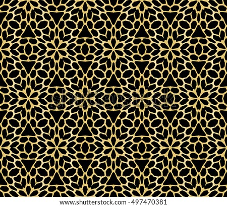 abstract geometry gold pattern on black background. vector illustration