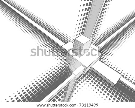Abstract geometry in semitones - stock vector