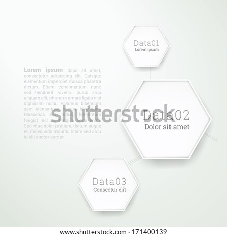 Abstract geometry infographic vector illustration with hexagon elements, minimal paper design - white version - stock vector