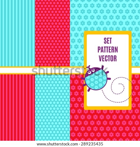 Abstract geometry set vector seamless pattern. Pattern with stripes, flowers, polka dots