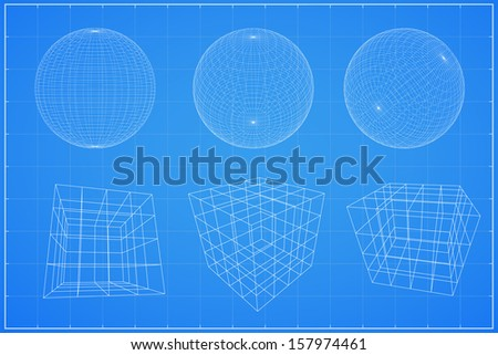 Abstract geometry wireframe, Spheres and cubic - Vector illustration - stock vector