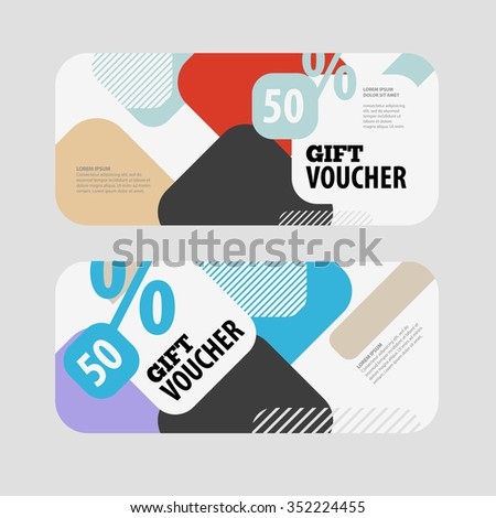 Abstract gift voucher or coupon design template. Voucher design, blank, print design, coupon. Gift voucher vector. Coupon template. Flyer template. Voucher abstract design. Voucher background