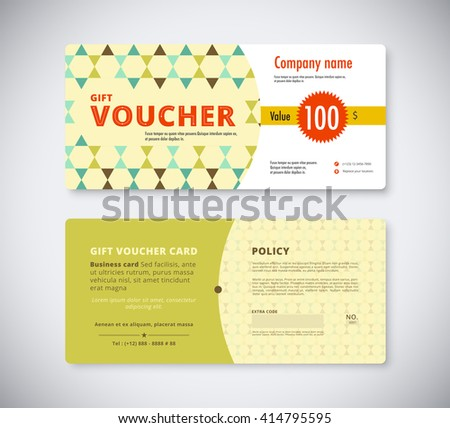 Abstract Gift Voucher Coupon Design Template Vector – Voucher Card Template