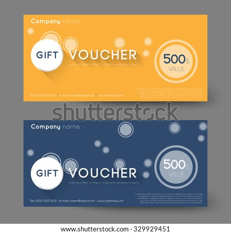 abstract gift voucher with circles, flat shadow effect