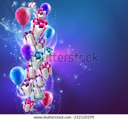 Abstract gifts and balloons celebration background with wrapped presents and balloons on an abstract background. Great for Christmas, birthdays or other celebrations. - stock vector