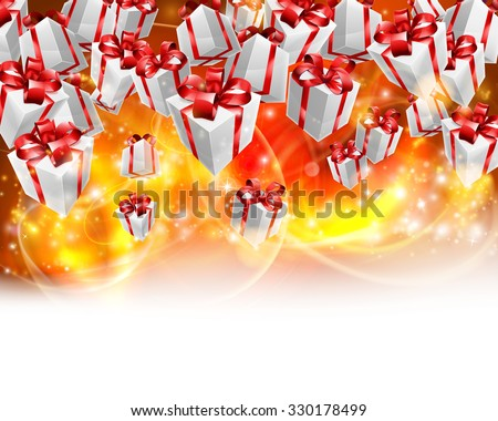 Abstract gifts or presents Christmas or birthday header red, orange and yellow background. Fades to white at the bottom for easy use as border design or header. - stock vector