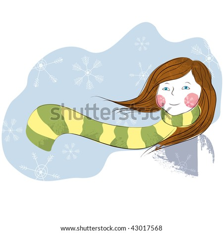 Abstract girl in the snow - stock vector