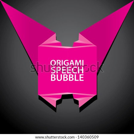 Abstract glamour pink paper origami ribbon on black background. Vector abstract origami background for website or cover design. Glamour Pink stylish brochure for text and advertising.