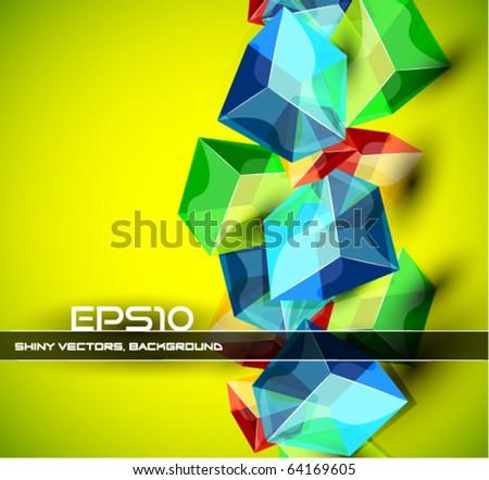 Abstract glass cubes. Vector composition - stock vector