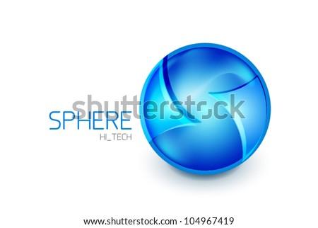 Abstract glass hi-tech sphere logo icon - stock vector