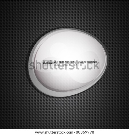 Abstract glass transparent white shape on carbon background. Eps10 vector illustration