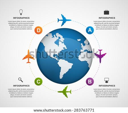 Abstract global airplane infographics design template. Vector illustration. - stock vector