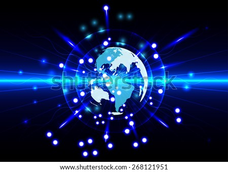 Abstract global future technology with world on blue  background - stock vector