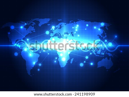 Abstract global network technology background, vector - stock vector