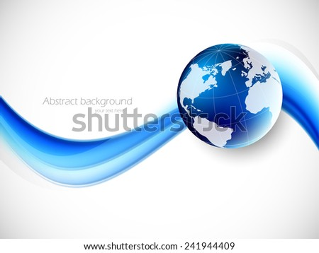 Abstract globalization background with blue wave and globe - stock vector