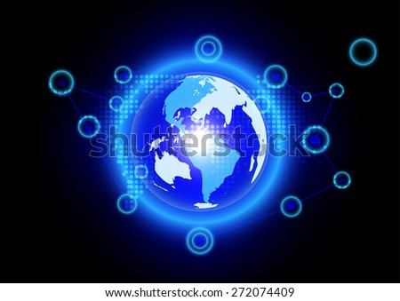Abstract globe blue background technology - stock vector