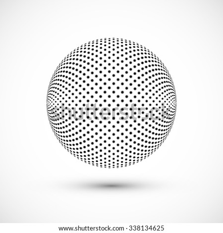 Abstract Globe Halftone Background Design. Black and White Checkered Sphere. Technology Business Concept. Vector Illustration.