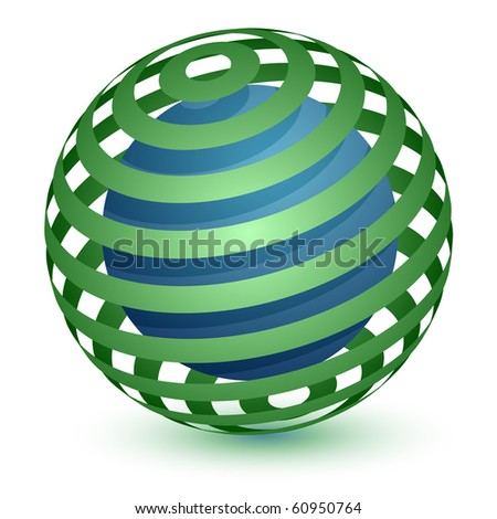Abstract Globe Icon. Communication and Network Concept. Ribbon Around a Sphere. - stock vector