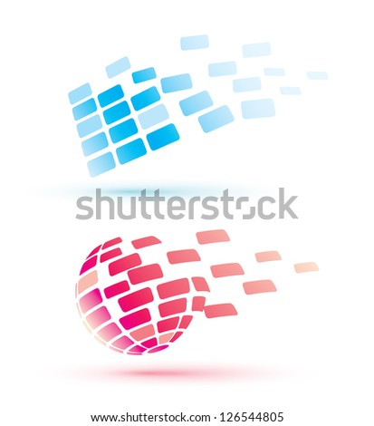 abstract globe icons, business and comunication concept - stock vector