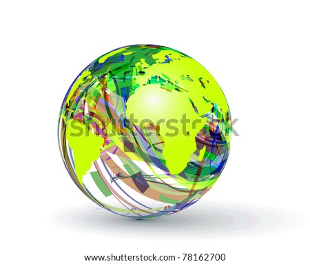 abstract globe made from colorful stripes. - stock vector