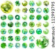 Abstract globe set. Vector ecology illustration. Green energy. - stock photo