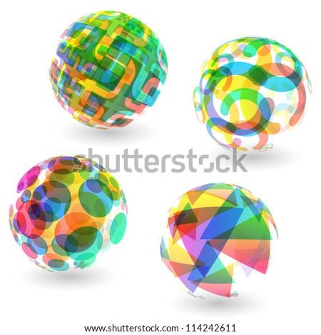 Abstract globe set. Vector illustration. - stock vector