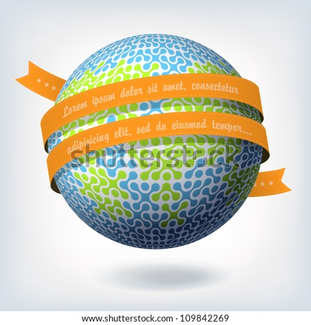 Abstract globe symbol with orange ribbon. Vector illustration, EPS10 - stock vector