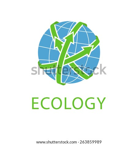 Abstract globe with green arrows, concept save planet, Earth day eco logo - stock vector