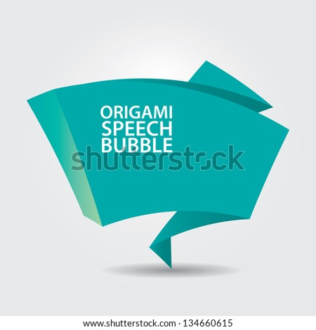 Abstract glossy azure origami speech bubble. Vector turquoise abstract background. - stock vector