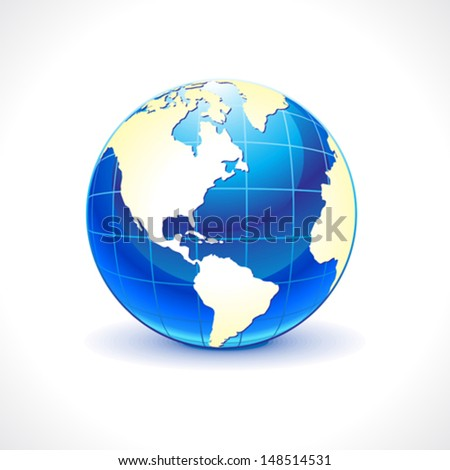 abstract glossy blue globe icon vector illustration