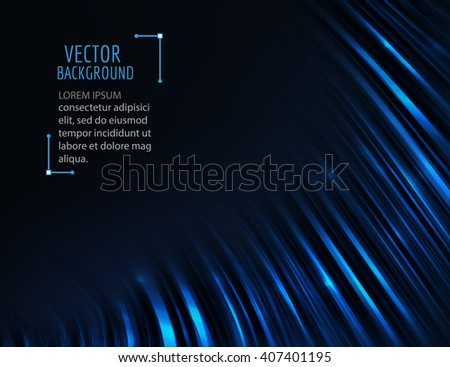 Abstract glossy blue wave in dark. Bright curve lines. Vector graphic background. - stock vector
