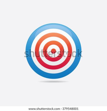 Abstract Glossy Bullseye Icon - stock vector