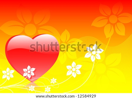 Abstract glossy fresh hart vector background illustration with flowers - stock vector