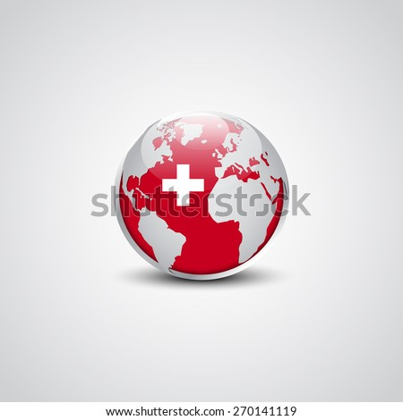 Abstract glossy globe in background switzerland flag | Swiss Vector flag button - stock vector
