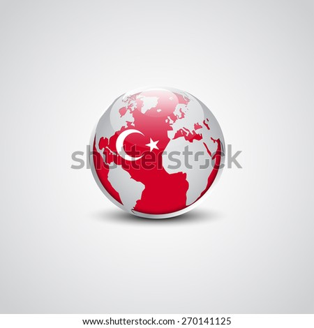 Abstract glossy globe in background Turkey flag | Vector flag button - stock vector